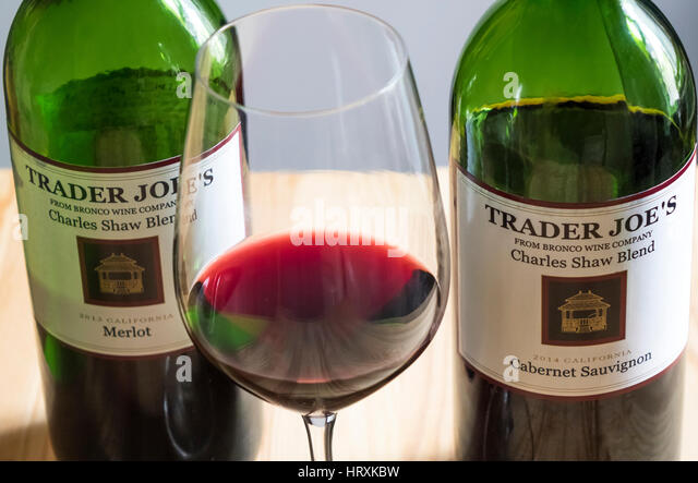 Inexpensive red wines from Trader Joe's - Stock Image