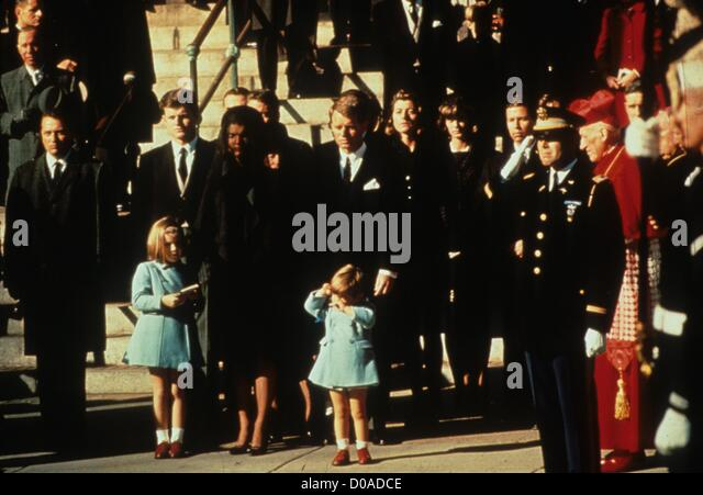 JOHN KENNEDY JR with mother Jackie Kennedy and sister Caroline Kennedy at John F. Kennedy funeral.r9554.(Credit - Stock Image
