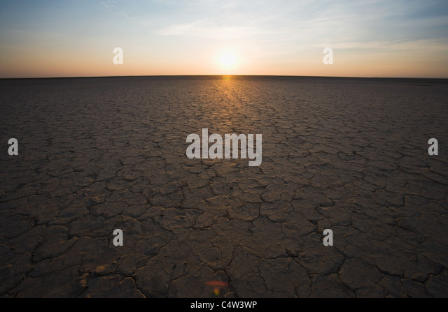 Cracked earth and horizon, Northern Cape, South Africa - Stock Image