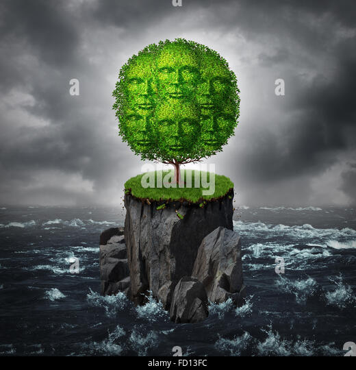 Community isolation concept as a a group of people shaped as a tree growing on an isolated rock cliff island surrounded - Stock-Bilder