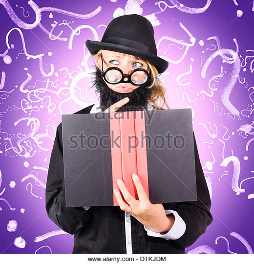 Quirky purple portrait of a knowledgeable business person thinking with finger to fake beard while reading puzzle - Stock Image