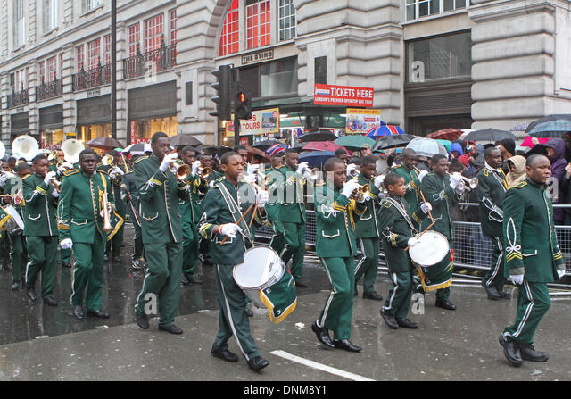 London,UK,1st January 2014,Kimbaguist Brass  Band marching at the London's New Year's Day Parade 201 Credit: - Stock Image
