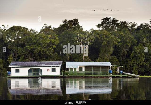 Floating bases of the Sustainable Development Institute Mamiraua and Amana - Stock Image