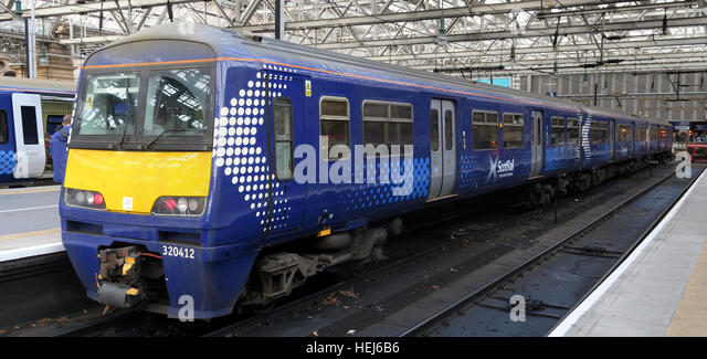 Scotrail Abellio train carriage 320412,petition to bring back into state ownership,after poor service - Stock Image