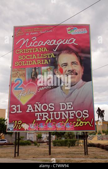 Managua Nicaragua El Malecon political billboard Daniel Ortega President government socialist Sandinista leader - Stock Image