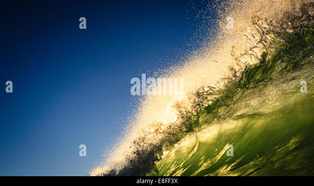 Close up of large wave with spray - Stock-Bilder