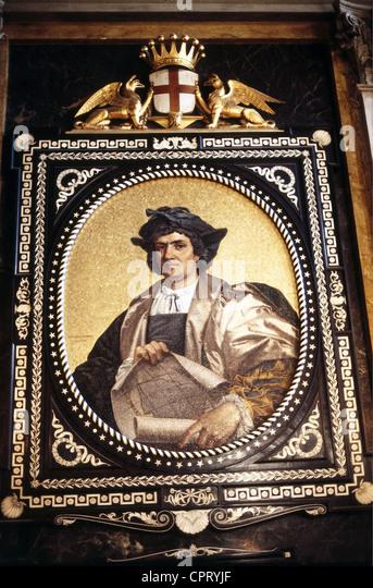 Columbus, Christopher, 1451 - 20.5.1506, Italian explorer, portrait, Palazzo Dorra Tursi, Genoa, Colombo, Colon, - Stock-Bilder