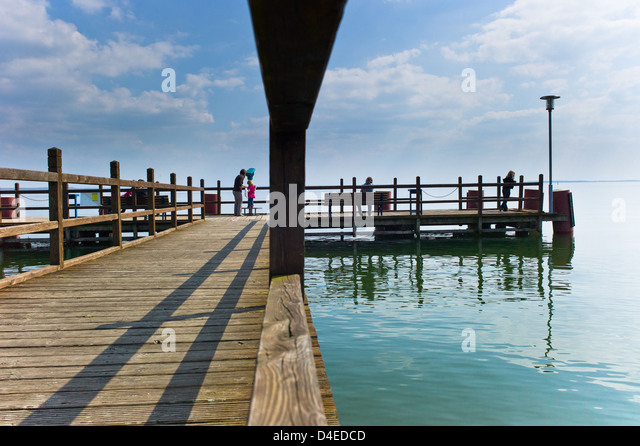 Klink, Germany, tourists on the Seebruecke - Stock Image