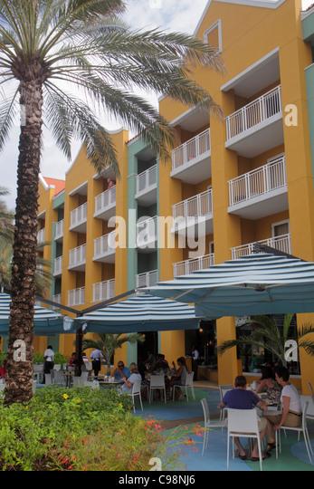 Curaçao Netherlands Antilles Dutch Willemstad Otrobanda Renaissance Hotel and Casino outdoor restaurant alfresco - Stock Image