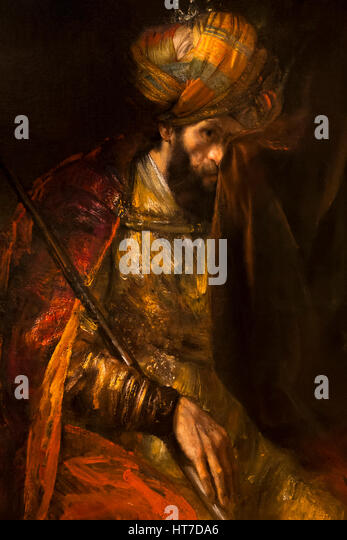 Detail of Saul and David, by Rembrandt, 1650's, Royal Art Gallery, Mauritshuis Museum, The Hague, Netherlands, - Stock Image