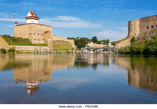 Narva river. Estonian-Russian Border, Europe - Stock Image