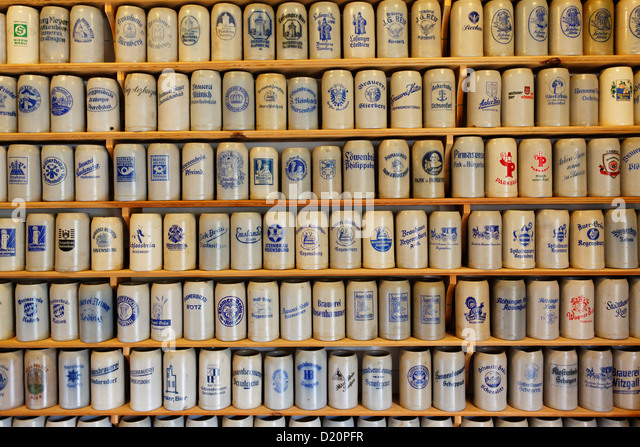 Collection of steins, Brewery Culture museum, Gut Riedelsbach, Lower bavaria, Bavaria, Germany, Europe - Stock Image
