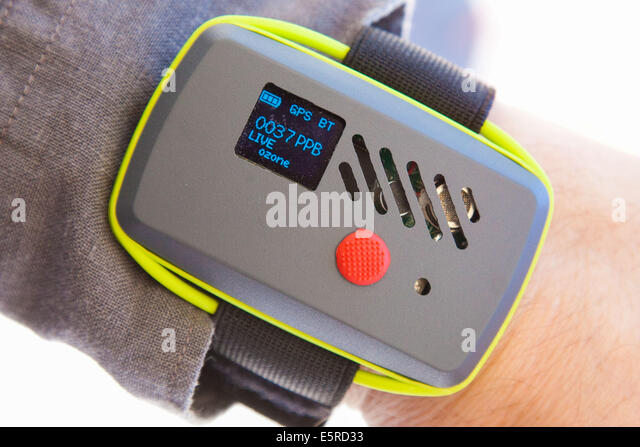 The Green Watch measures the air and noise pollution thanks to CO2 and noise sensors, and contains a GPS and a Bluetooth - Stock Image