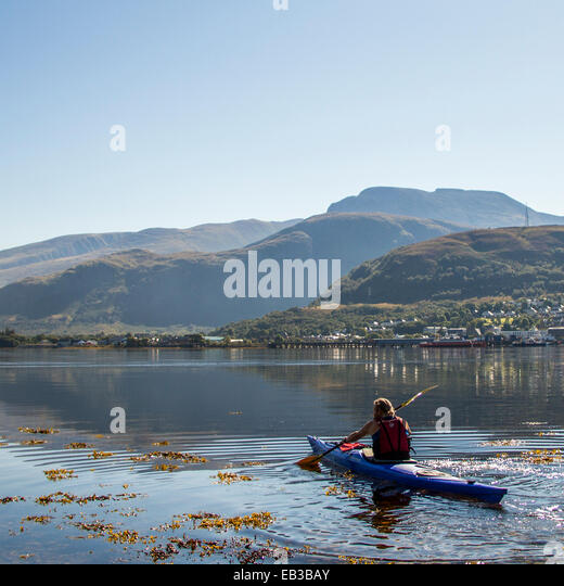 UK, Scotland, Man in canoe - Stock Image