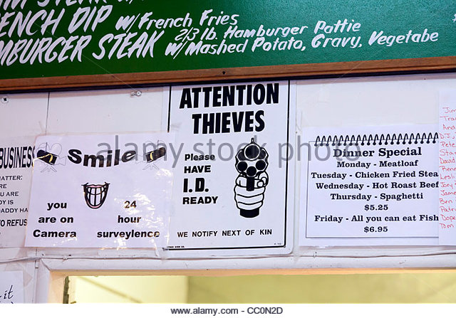 Comical sign warning thieves 'Please have I.D. Ready, We Notify Next of Kin', Willow Beach, Arizona, United - Stock Image