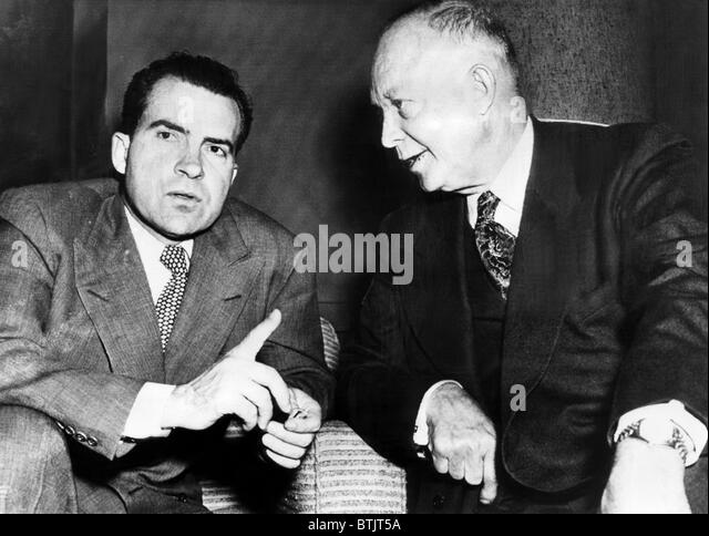 Future U.S. President Richard Nixon (then running for Vice President), and future President Dwight D. Eisenhower, - Stock Image
