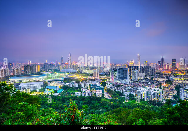 Shenzhen, China downtown cityscape. - Stock Image