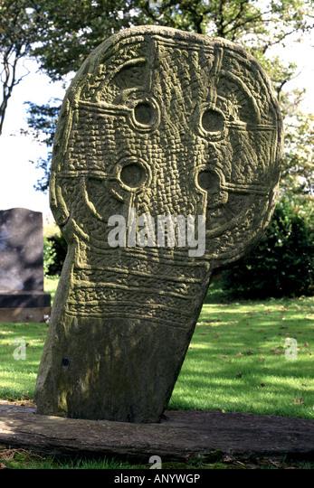 WHEEL- HEADED CROSS. ISLE OF MAN. ENGLAND. UK - Stock Image