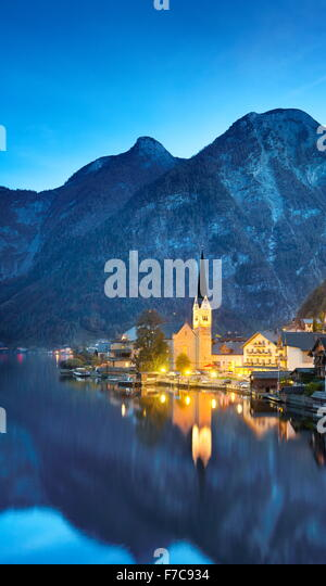 Hallstatt at evening time, Salzkammergut, Austrian Alps, Austria, UNESCO - Stock Image