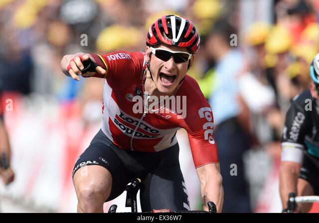 Utrecht, Netherlands. 05th July, 2015. GREIPEL Andre of Lotto Soudal celebrates the victory during stage 2 of the - Stock-Bilder