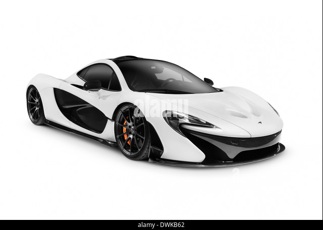 White 2014 McLaren P1 plug-in hybrid supercar isolated sports car on white background - Stock Image