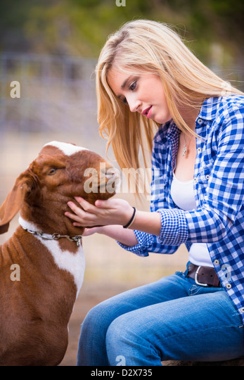 Female teenager petting goat - Stock Image