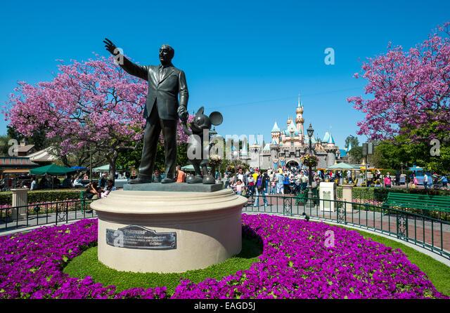 Walt Disney and Mickey Mouse at Disneyland California USA - Stock Image