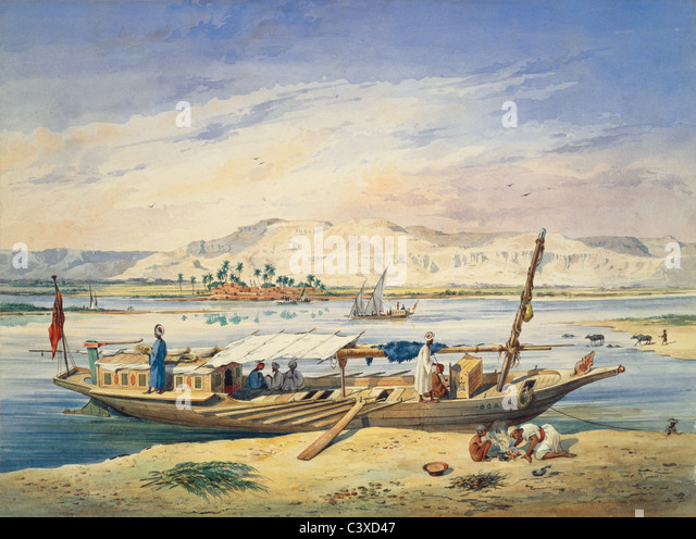 Kanja on the Nile at Luxor, by Achille-Constant-Theodore Emile Prisse d'Avennes. Egypt, 19th century - Stock-Bilder