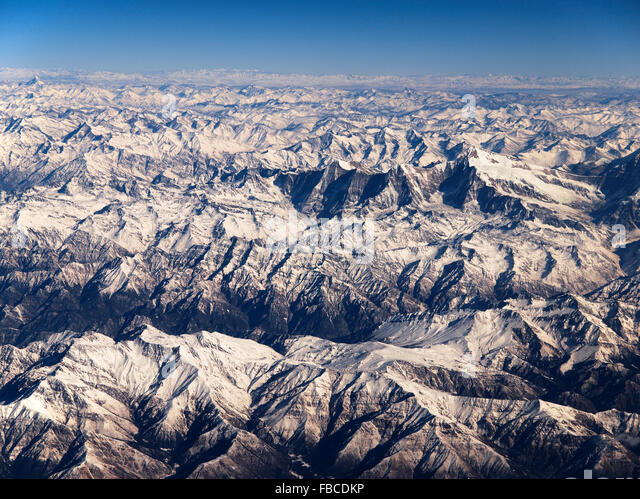Aerial view of Himalaya Nepal - Stock Image