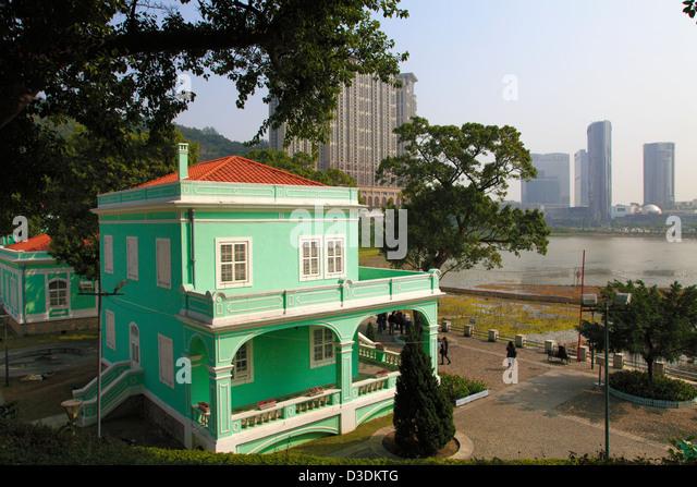 China, Macau, Taipa Village, portugese colonial architecture, - Stock Image