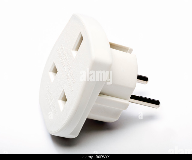 European plug adapter - UK 3 pin plug to European 2 pin plug travel adapter - Stock-Bilder
