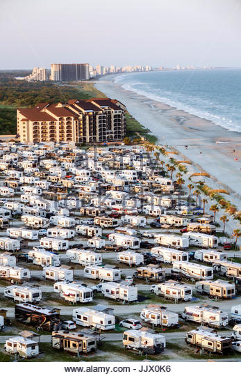 South Carolina SC Atlantic Ocean Myrtle Beach Myrtle Beach RV Travel Park recreational vehicles caravan park campground - Stock Image