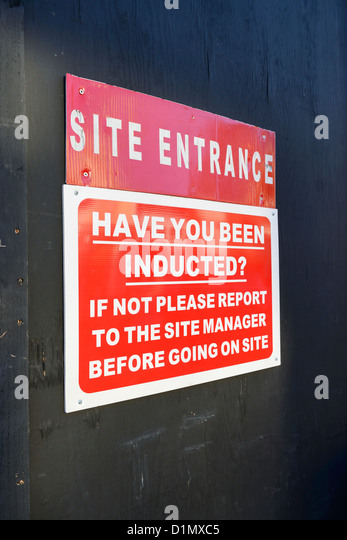 Building site safety sign - Stock Image