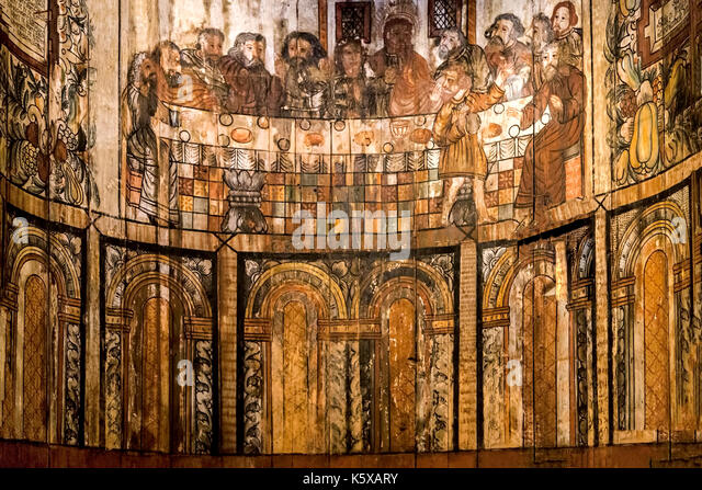 Painting of the Last Supper in the ancient Stave Church in the Norsk Folkemuseum, a Museum of cultural History, - Stock Image