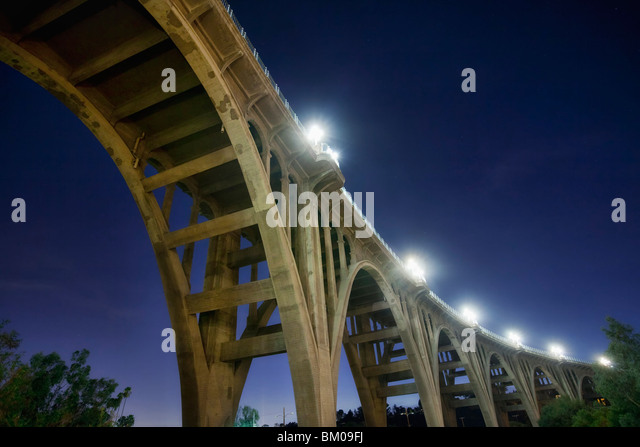 Underneath the Colorado Street Bridge, aka Suicide Bridge, in Pasadena, California - Stock Image