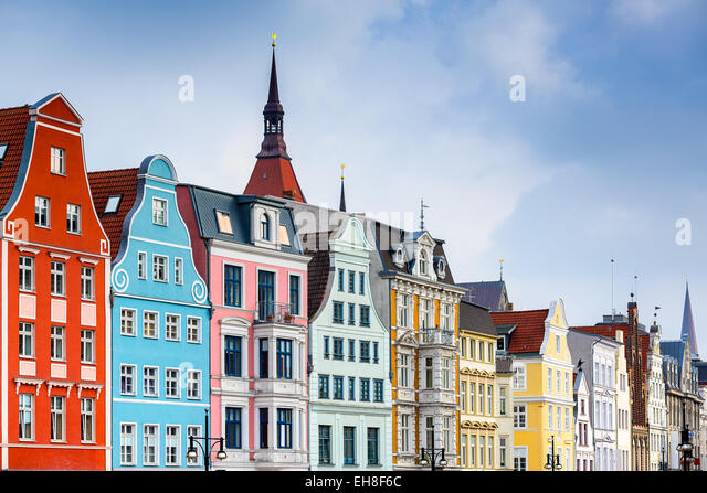 Rostock, Germany old town cityscape. - Stock-Bilder