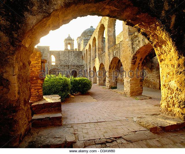 Church of San Jose y San Miguel de Aguayo [San Antonio Missions National Historical Park] Texas - Stock Image