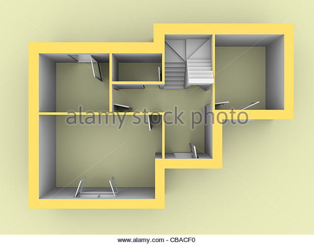 3d model of a house as seen from top view. Doors and windows are open - Stock Image