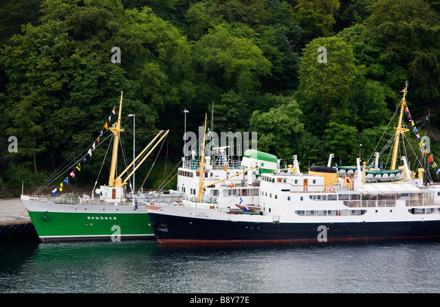 Historic ships moored at a port, Stavanger, Rogaland County, Norway - Stock Image