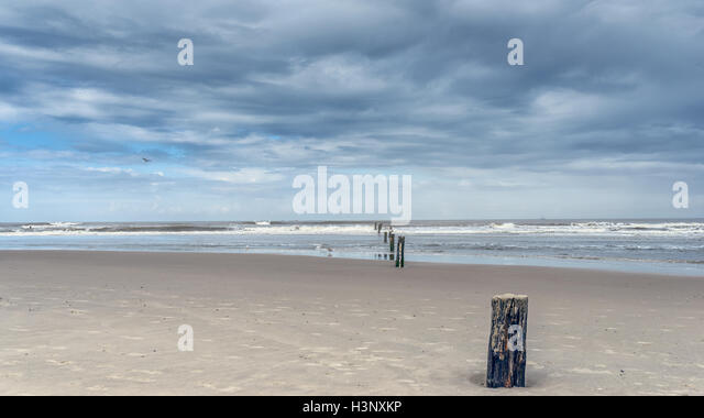 Old pier posts in sand that lead to horizon from beach near oceanside with moody clouds above - Stock Image