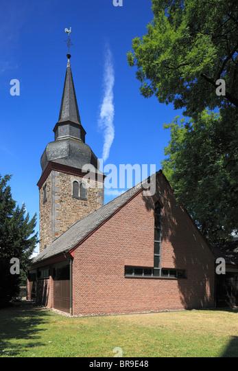 Alter Kirchturm, Rest der Barockkirche Simon und Judas in Hennef (Sieg), Siegtal, Naturpark Bergisches Land, Westerwald, - Stock Image