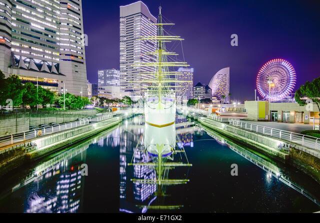 Yokohama, Japan city skyline at Minato-mirai. - Stock Image