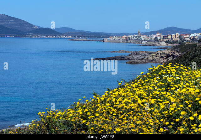 The coastline near the port of Alghero in the province of Sassari on the northwest coast of the island of Sardinia, - Stock Image
