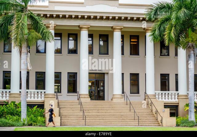 Hawaii Hawaiian Oahu Honolulu University of Hawaii at Manoa campus school education Hawaii Hall administration building - Stock Image