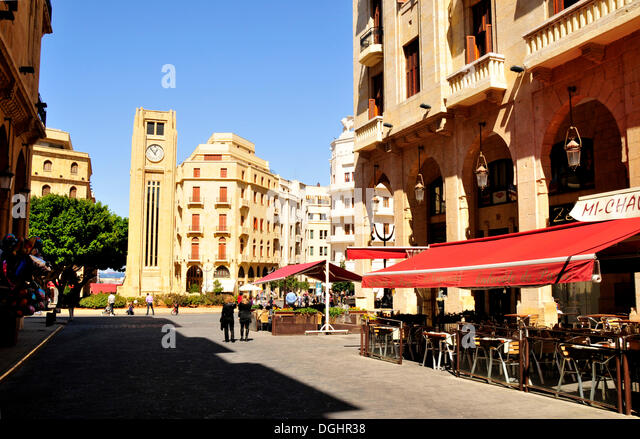 Street café on the Place d'Etoile, Beirut, Lebanon, Middle East, Orient - Stock Image