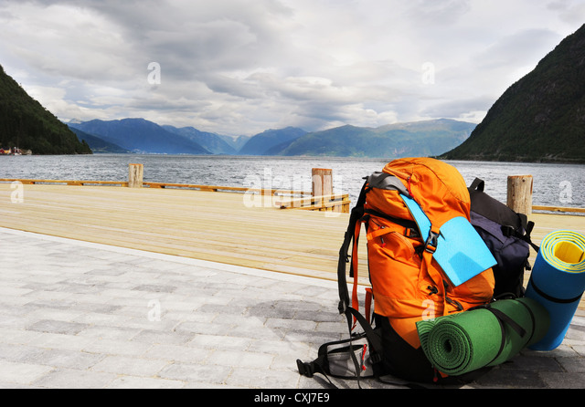Tourists backpack - Stock Image