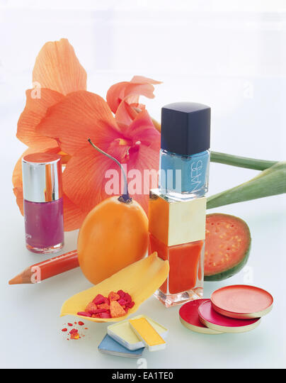 still life various make-ups and flower - Stock Image