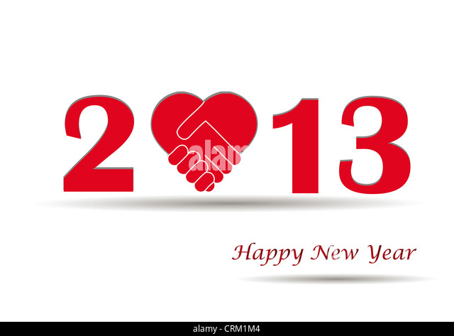 Concept card on New Year 2013 with hands - Stock Image