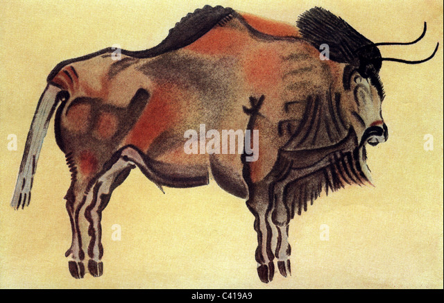 antiquity / prehistory, cave-paintings, Altamira, bison, drawing after a cave-painting, buffalo, buffalos, Spain, - Stock Image