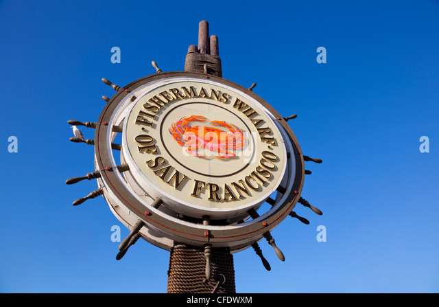 Iconic street sign for the Fisherman's Wharf area, San Francisco, California, United States of America, - Stock Image
